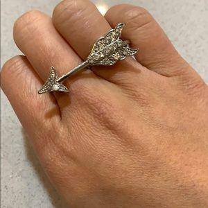 Forever 21 Double Ring Crystal Arrow